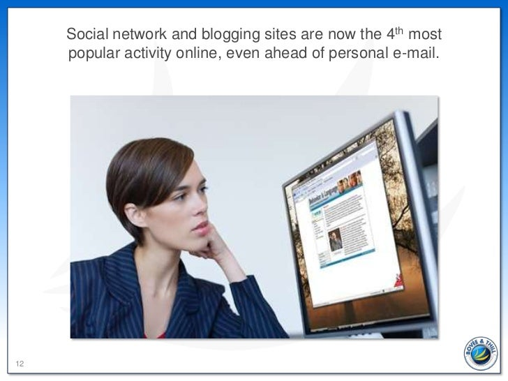 Social network and blogging sites are now the 4th most     popular activity online, even ahead of personal e-mail.12