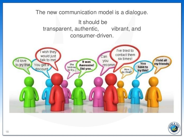 The new communication model is a dialogue.                     It should be       transparent, authentic,    vibrant, and ...