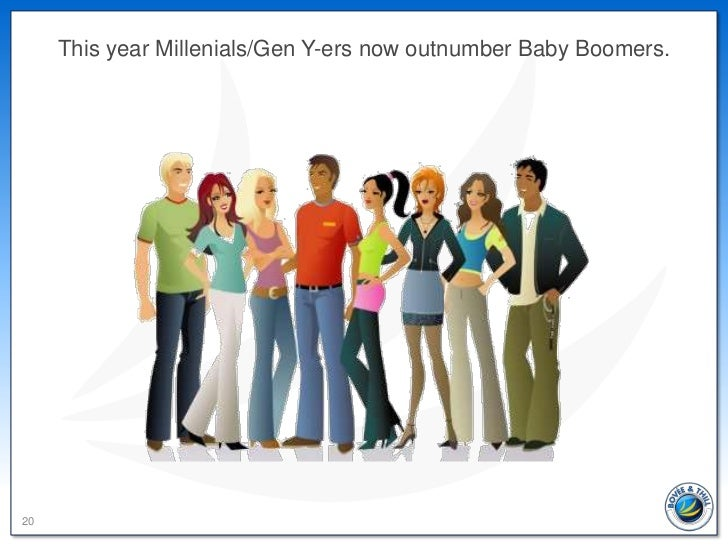 This year Millenials/Gen Y-ers now outnumber Baby Boomers.20