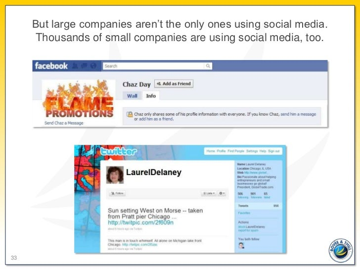 But large companies aren't the only ones using social media.     Thousands of small companies are using social media, too.33