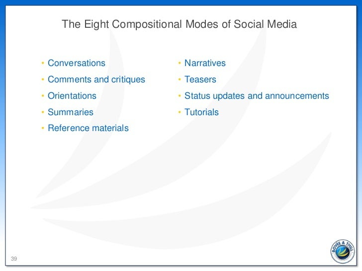 The Eight Compositional Modes of Social Media     • Conversations            • Narratives     • Comments and critiques   •...