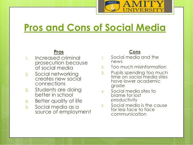 essay social networking pros cons In today's society, billions of people across the world are accessing the internet multiple times a day why wouldn't they many people have the internet on their smart phones, and at the touch of a button can check their email, their twitter, their facebook, their bank account balance, you name it.