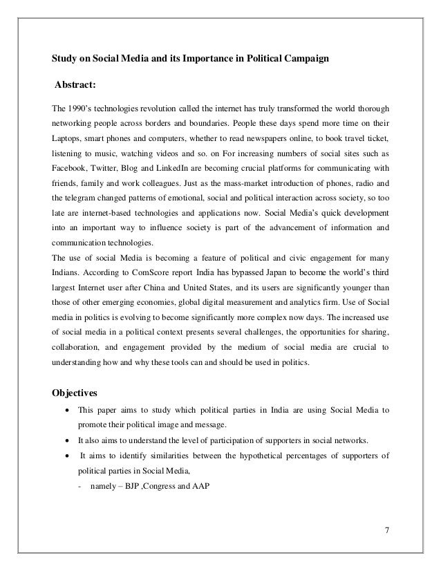 Research On Social Media And Its Importance In Political Campaign