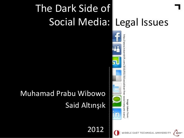 The Dark Side of Social Media: Legal Issues  2012  Image taken from: http://www.instantshift.com/2010/05/19/socialclean-fr...
