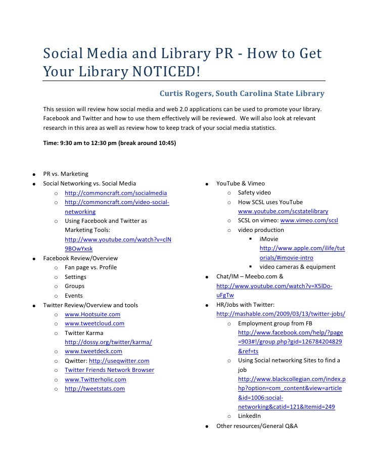 Social Media and Library PR - How to Get Your Library NOTICED!<br />Curtis Rogers, South Carolina State Library<br />This ...