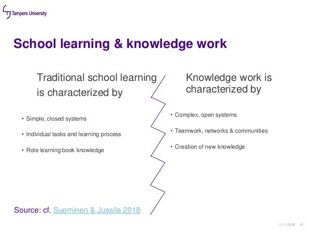 School learning & knowledge work 11.11.2019 10 Traditional school learning is characterized by • Simple, closed systems • ...