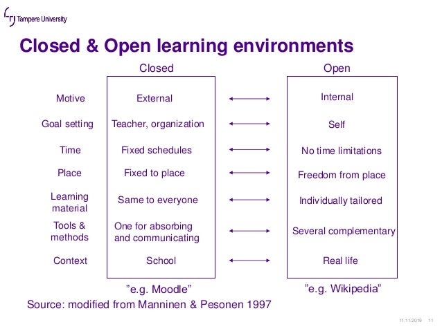 Closed & Open learning environments 11.11.2019 11 Closed Open Motive External Internal Goal setting Teacher, organization ...