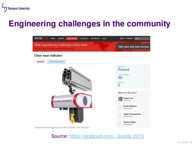 Engineering challenges in the community 11.11.2019 33 Source: https://grabcad.com/, Jussila 2015