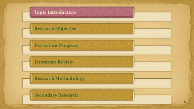 Topic IntroductionResearch ObjectivePre-review ProgressLiterature ReviewResearch MethodologySecondary Research            ...
