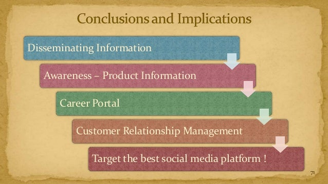 Disseminating Information   Awareness – Product Information      Career Portal         Customer Relationship Management   ...