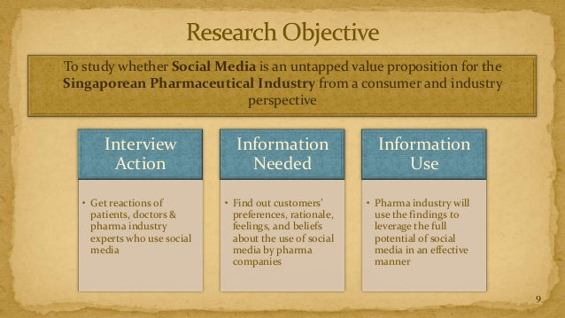 To study whether Social Media is an untapped value proposition for theSingaporean Pharmaceutical Industry from a consumer ...
