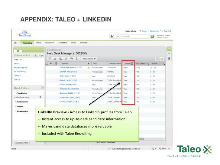 candidates talent intelligence 42 appendix taleo