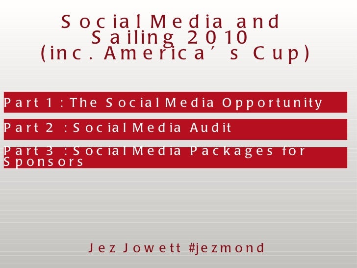 Part 1 : The Social Media Opportunity  Part 2 : Social Media Audit Part 3 : Social Media Packages for Sponsors Social Medi...