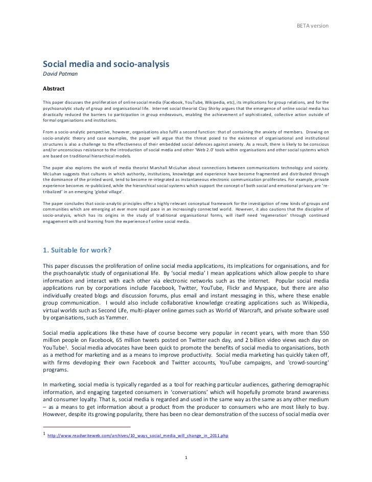 BETA version Social media and socio-‐analysis David Patman  Abstract  This paper discusses th...