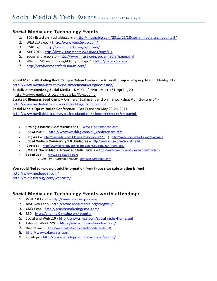 Social Media & Tech Events Created 2011-12 by Izzy G.Social Media and Technology Events   1.   100+ listed on mashable.com...