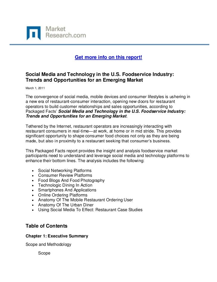Get more info on this report!Social Media and Technology in the U.S. Foodservice Industry:Trends and Opportunities for an ...