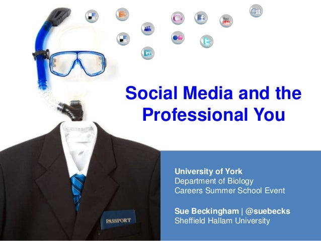 Social Media and theProfessional YouSue Beckingham | @suebecksSheffield Hallam UniversityUniversity of YorkDepartment of B...