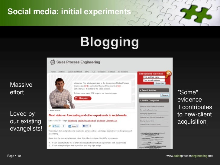 Social media: initial experiments Massive effort            Speaking at other          *Some*                             ...