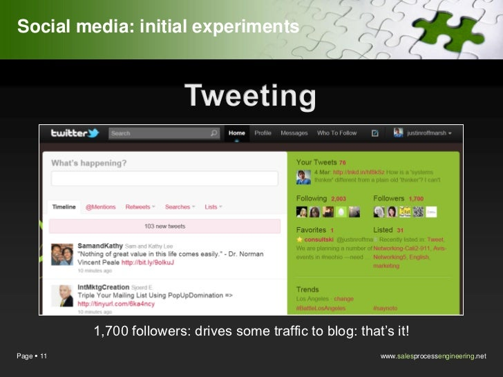 Social media: initial experiments            1,700 followers: drives some traffic to blog: that's it!Page  11            ...