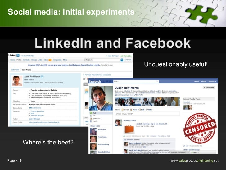 Social media: initial experiments                                    Unquestionably useful!            Where's the beef?Pa...
