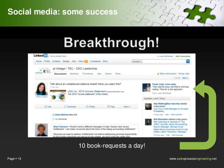 Social media: some success                10 book-requests a day!Page  13                                 www.salesproces...