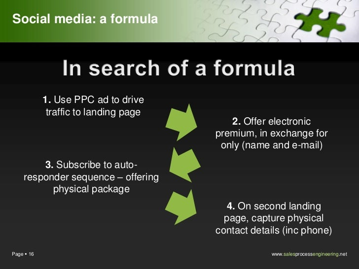 Social media: a formula            1. Use PPC ad to drive             traffic to landing page                             ...