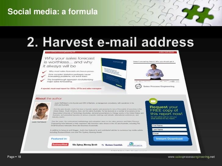 Social media: a formulaPage  18                 www.salesprocessengineering.net