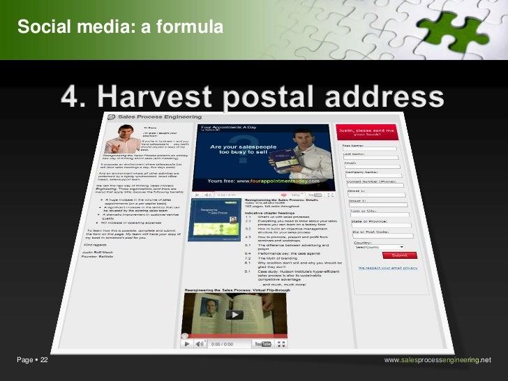 Social media: a formulaPage  22                 www.salesprocessengineering.net