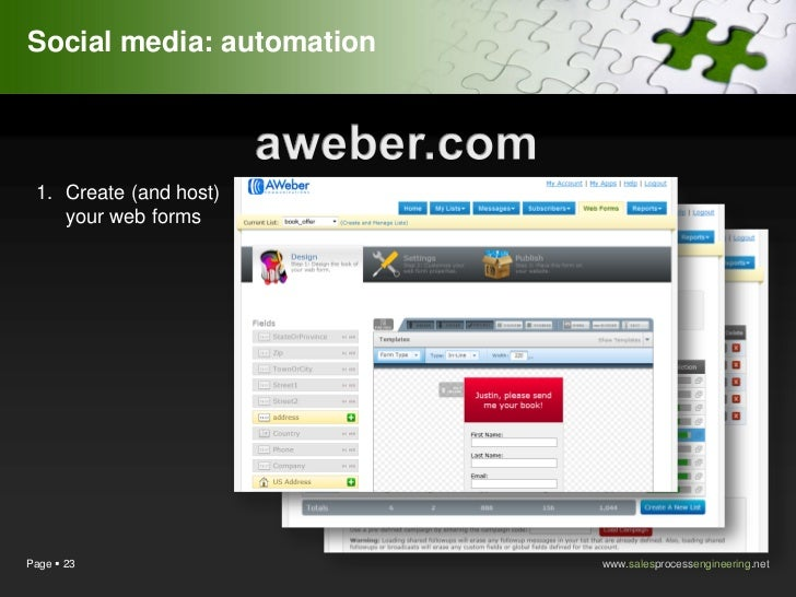 Social media: automation 1. Create (and host)    your web formsPage  23                  www.salesprocessengineering.net