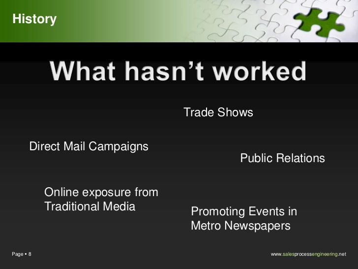 History                                  Trade Shows       Direct Mail Campaigns                                          ...