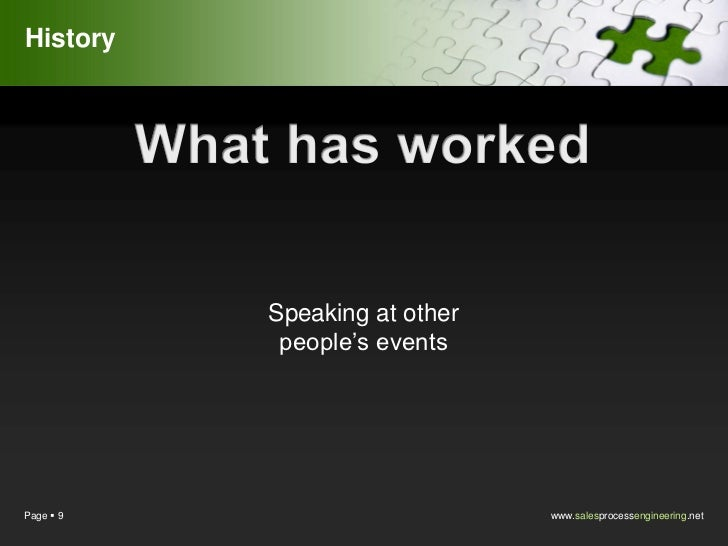 History           Speaking at other            people's eventsPage  9                       www.salesprocessengineering.net