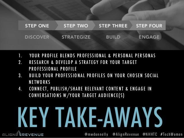 #TechWomen@mwdonnelly @AlignRevenue @NHHTC STEP TWO  STEP THREE STEP ONE  STEP FOUR KEY TAKE-AWAYS DISCOVER 1. YOUR PROFI...