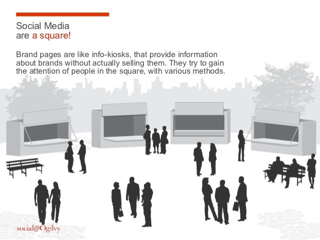 Social Mediaare a square!Brand pages are like info-kiosks, that provide informationabout brands without actually selling t...