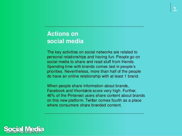2.Actions onsocial mediaConversation starters to talk about brands are in the firstplace product experiences, followed by ...