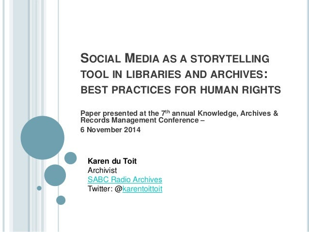 Social media as a storytelling tool for libraries ...
