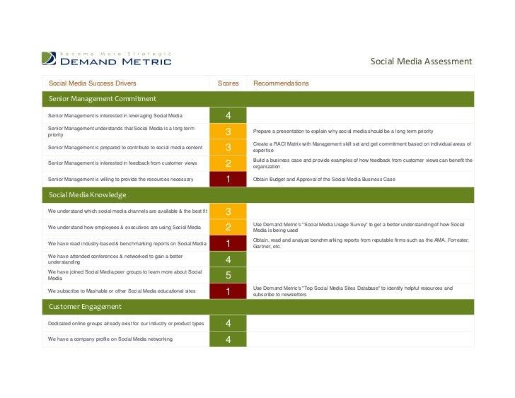 Social Media AssessmentSocial Media Success Drivers                                              Scores   RecommendationsS...