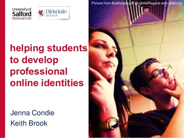 Jenna Condie Keith Brook helping students to develop professional online identities Picture from #salfordpsych @JamieRegan...