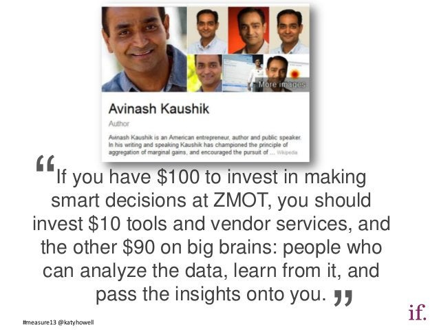 """"""" If you have $100 to invest in making     smart decisions at ZMOT, you should  invest $10 tools and vendor services, and ..."""