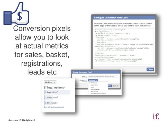 Conversion pixels   allow you to look   at actual metrics   for sales, basket,     registrations,        leads etc#measure...