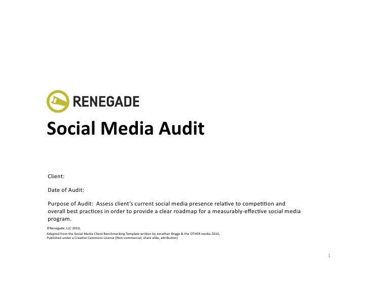 SocialMediaAudit  Client:  DateofAudit:  PurposeofAudit:Assessclient'scurrentsocialmediapresencerelaKvet...
