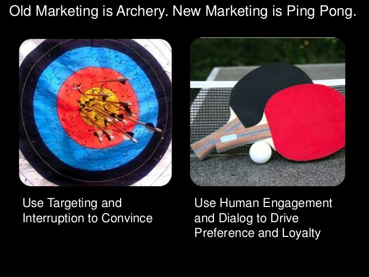 Old Marketing is Archery. New Marketing is Ping Pong.<br />Use Targeting and Interruption to Convince<br />Use Human Engag...