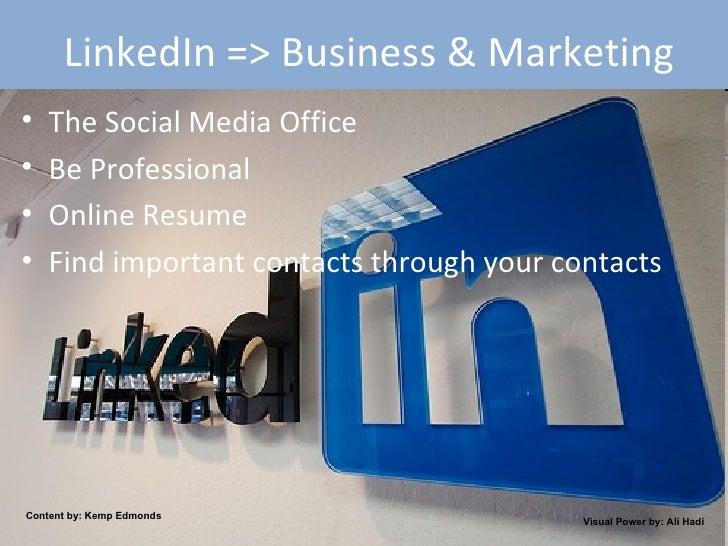 LinkedIn => Business & Marketing <ul><li>The Social Media Office </li></ul><ul><li>Be Professional </li></ul><ul><li>Onlin...