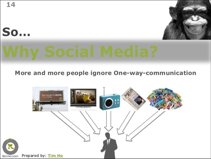 14    So… Why Social Media?  More and more people ignore One-way-communication          Prepared by: Tim Ho