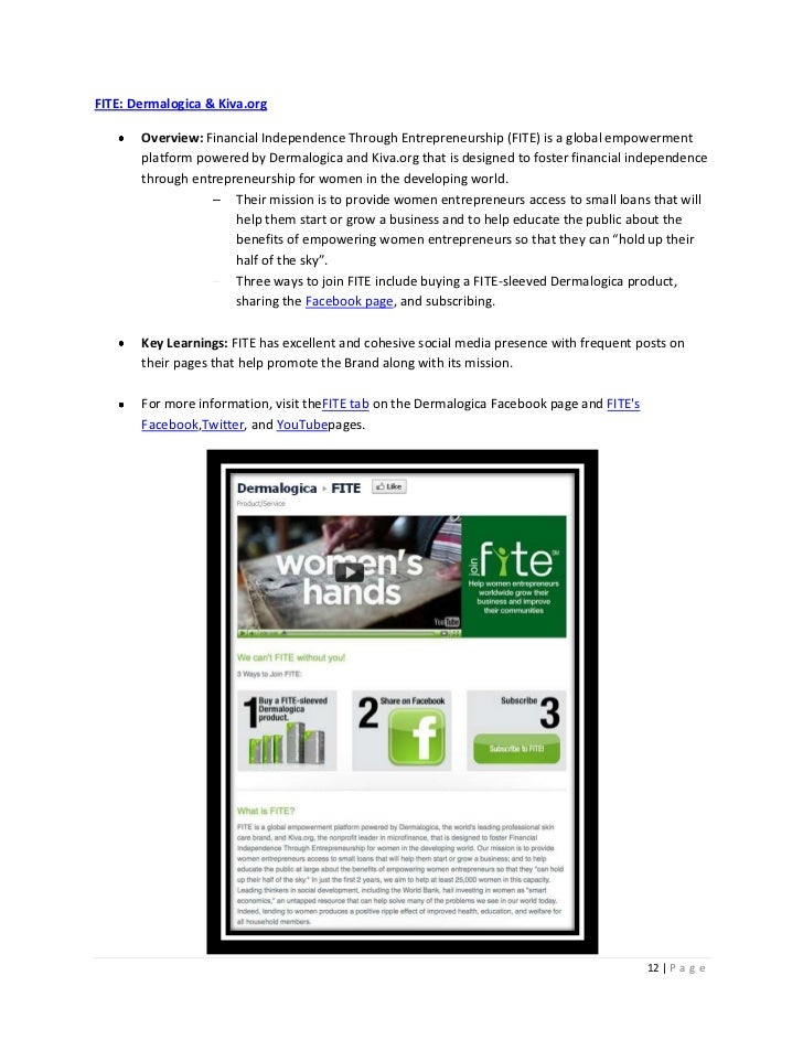 FITE: Dermalogica & Kiva.org       Overview: Financial Independence Through Entrepreneurship (FITE) is a global empowermen...