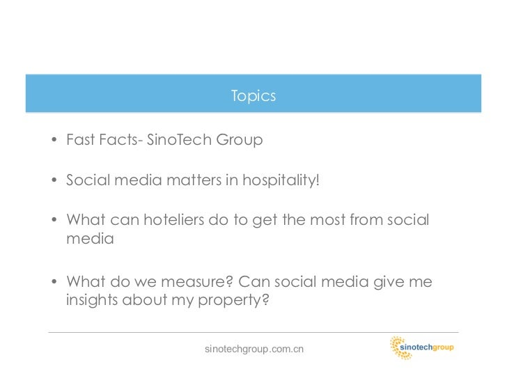 social media in the hospitality industry We re nearing the end of summer vacation season, but that doesn t mean it s time to take your foot off the marketing breaks instead, take a look at all the new changes happening on social media that can directly affect the hospitality industry and see how to incorporate them to better serve and understand your guests.