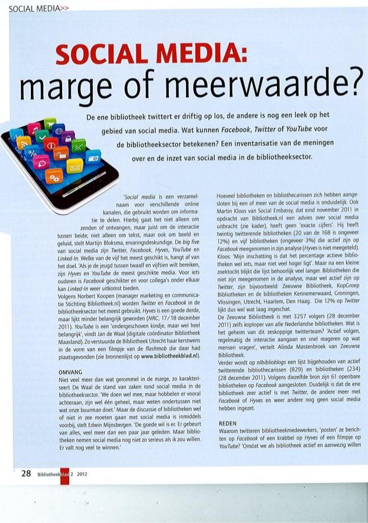Social media: marge of meerwaarde? Bibliotheekblad 2 2012