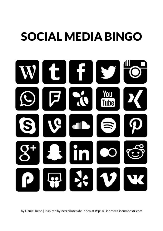 SOCIAL MEDIA BINGO by Daniel Rehn | inspired by netzpiloten.de | seen at #rp14 | icons via iconmonstr.com
