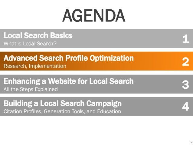 14 Local Search Basics What is Local Search? Advanced Search Profile Optimization Research, Implementation Building a Loca...