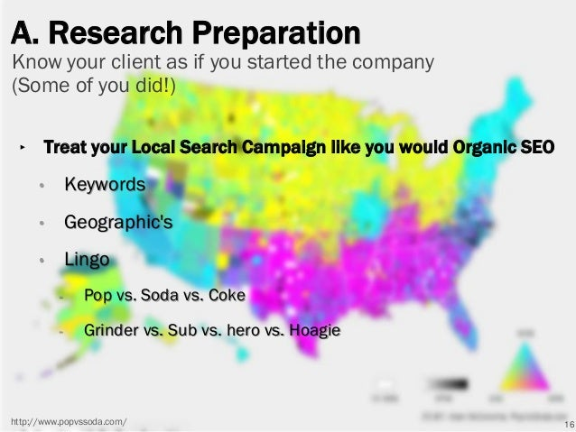 A. Research Preparation ‣ Treat your Local Search Campaign like you would Organic SEO • Keywords • Geographic's • Lingo - ...