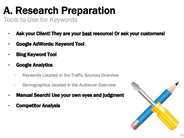A. Research Preparation ‣ Ask your Client! They are your best resource! Or ask your customers! ‣ Google AdWords: Keyword T...